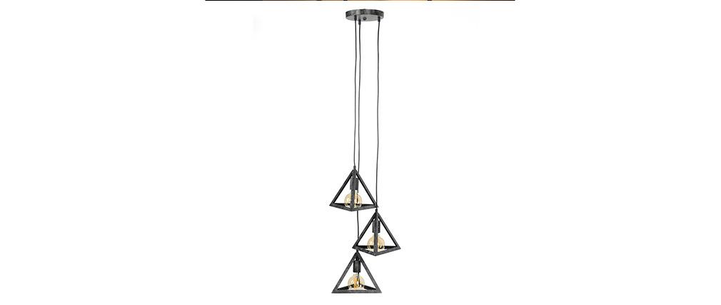 Suspension pyramide 3 lampes argent vieilli LOUVRE