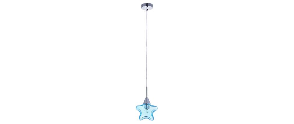 Suspension verre étoile bleu enfant AMY