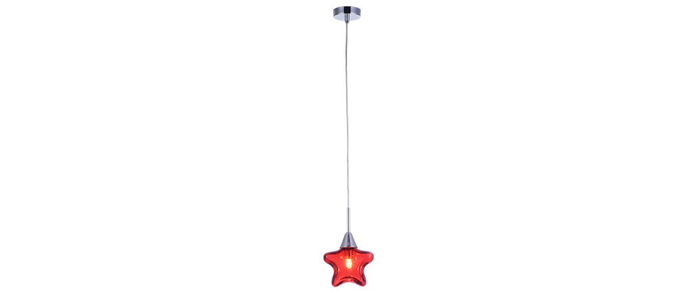Suspension verre étoile rouge enfant AMY