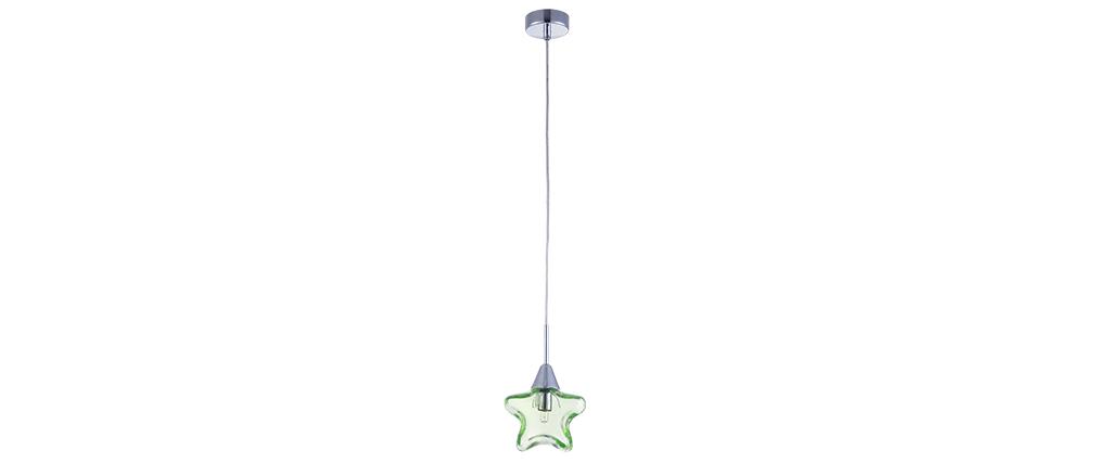 Suspension verre étoile vert enfant AMY