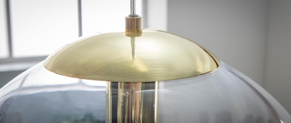 Suspension verre soufflé transparent et laiton GLOBUS