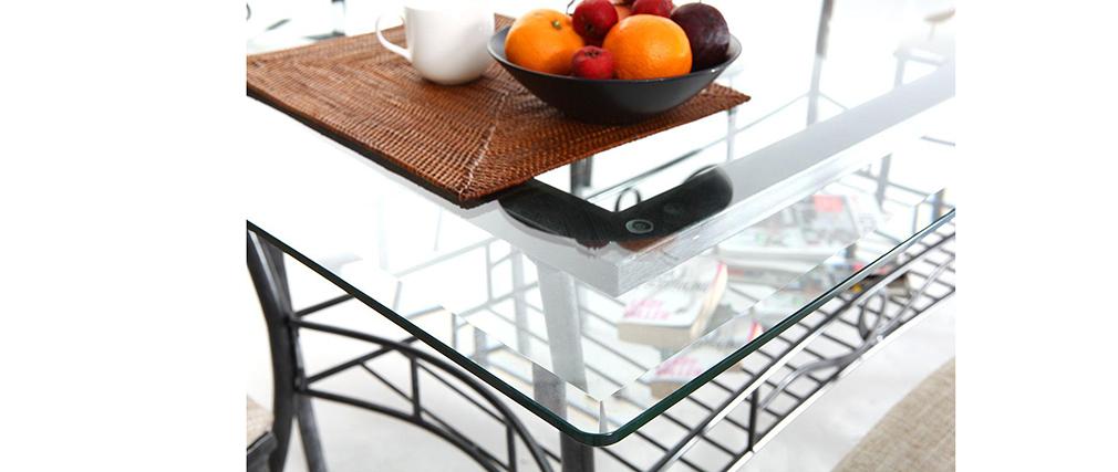 Table à manger baroque verre et noire VENEZIA