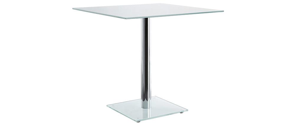 Table à manger carrée en verre blanc avec pied chromé 80 cm KROM