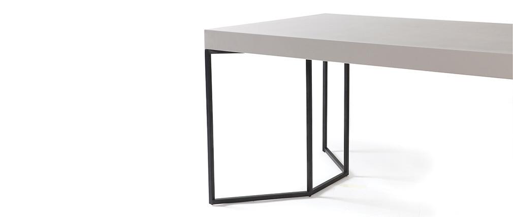 Table à manger design 200cm taupe mat et noir YTA