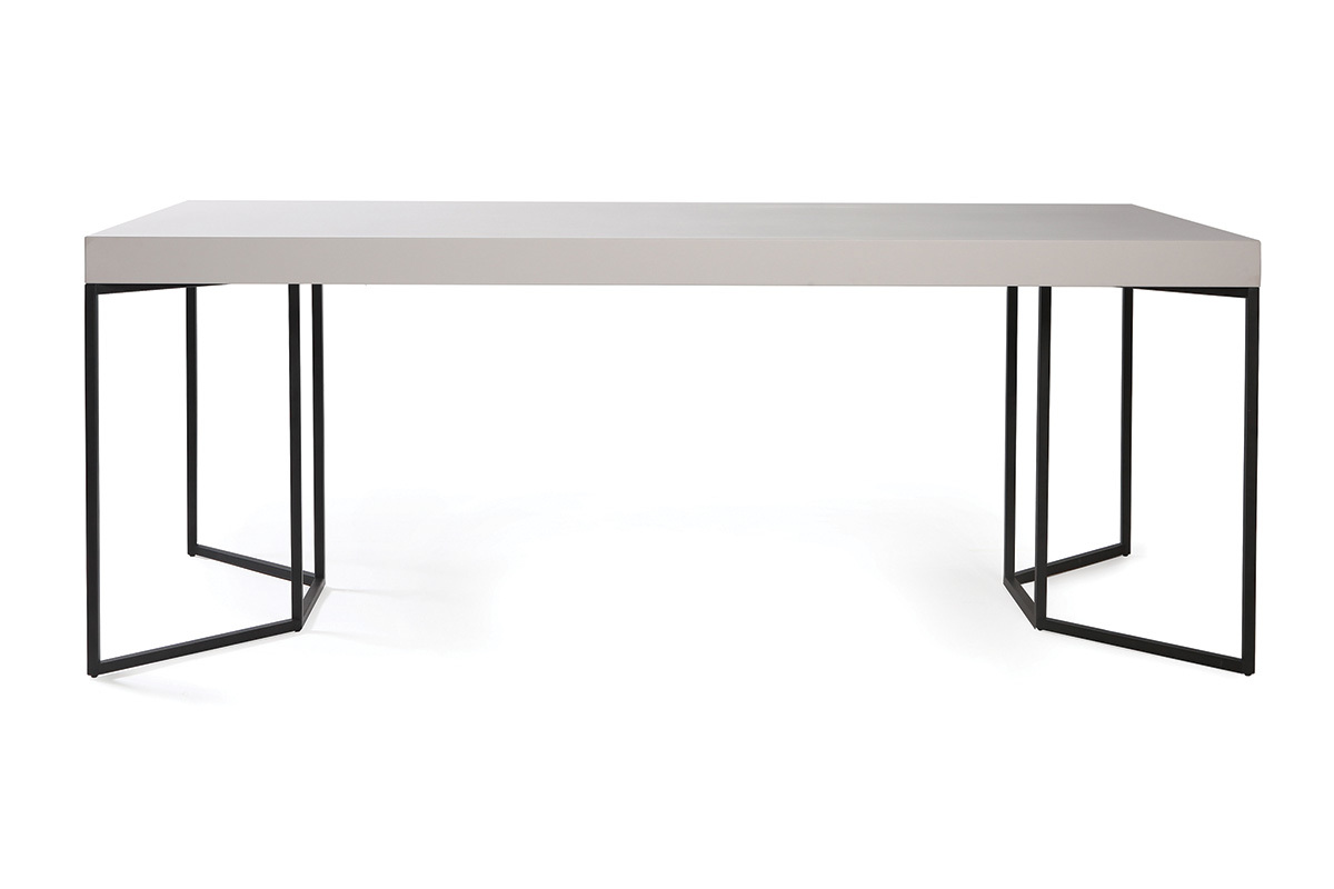 Table manger design 200cm taupe mat et noir yta for Prix table a manger