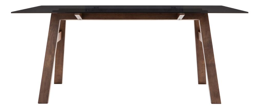 Table à manger design avec plateau en verre fumé noir 180 cm BACCO ...