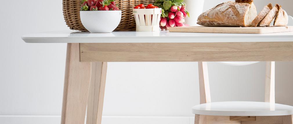 Table à manger design blanc et bois clair 120 cm LEENA