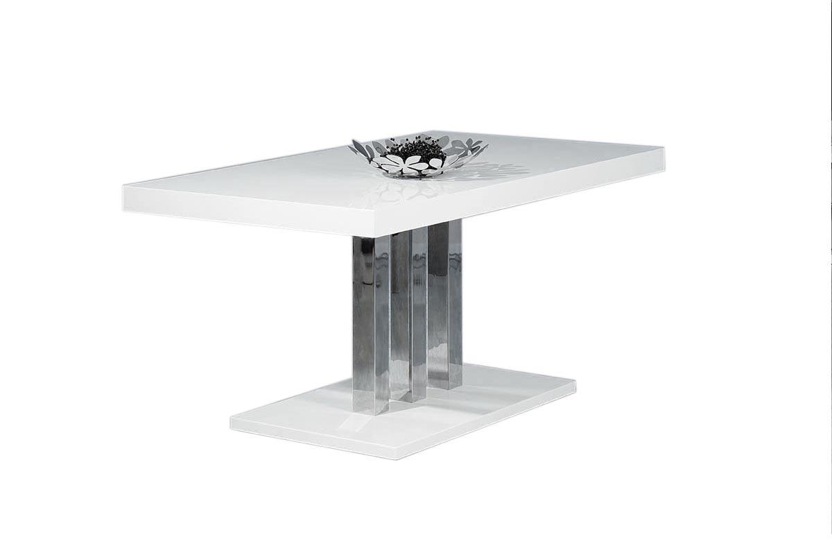 Table à manger design blanc laqué L160 cm ORIANE - Miliboo
