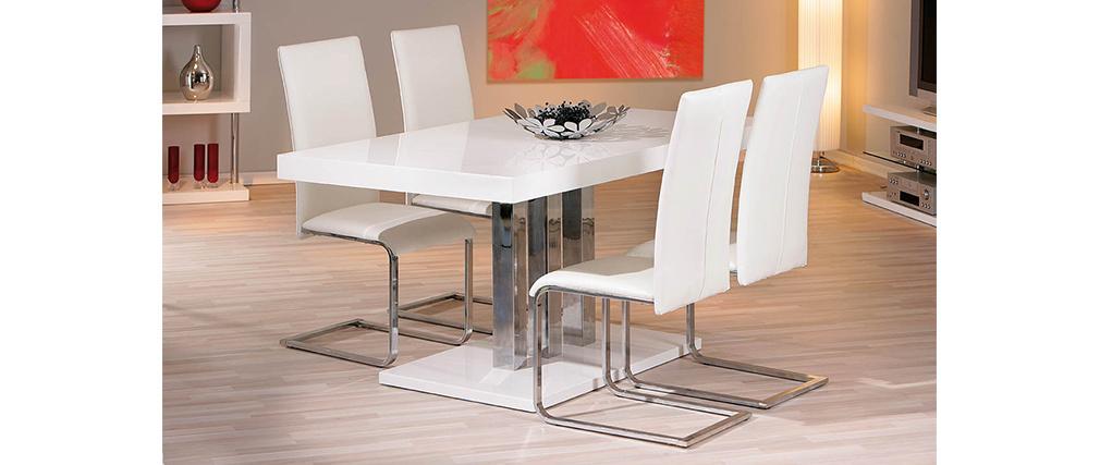 Table à manger design blanc laqué L160 cm ORIANE