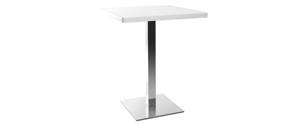 Table à manger design carré blanche pied central JORY