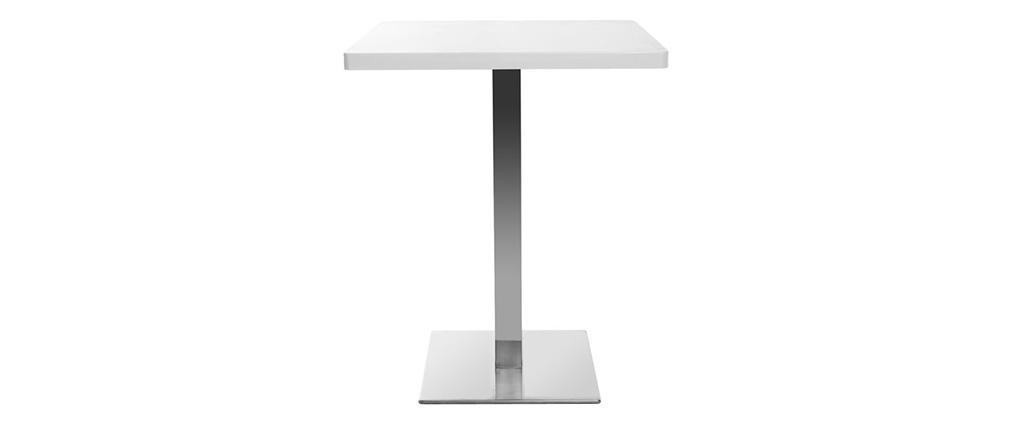 Table à manger design carré blanche pied central L60 JORY