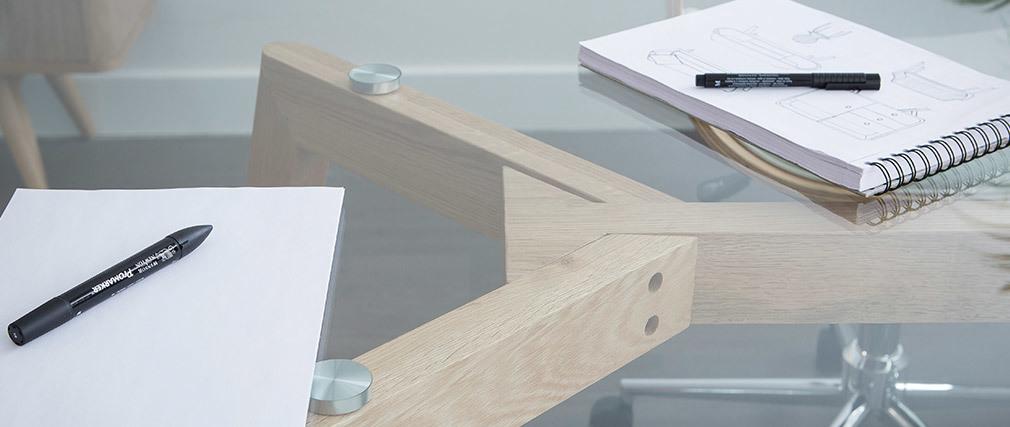 Table à manger design en verre et bois clair L200 cm DAVOS