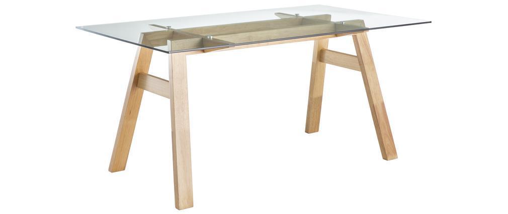 Table à manger design en verre transparent et bois L160 cm BACCO