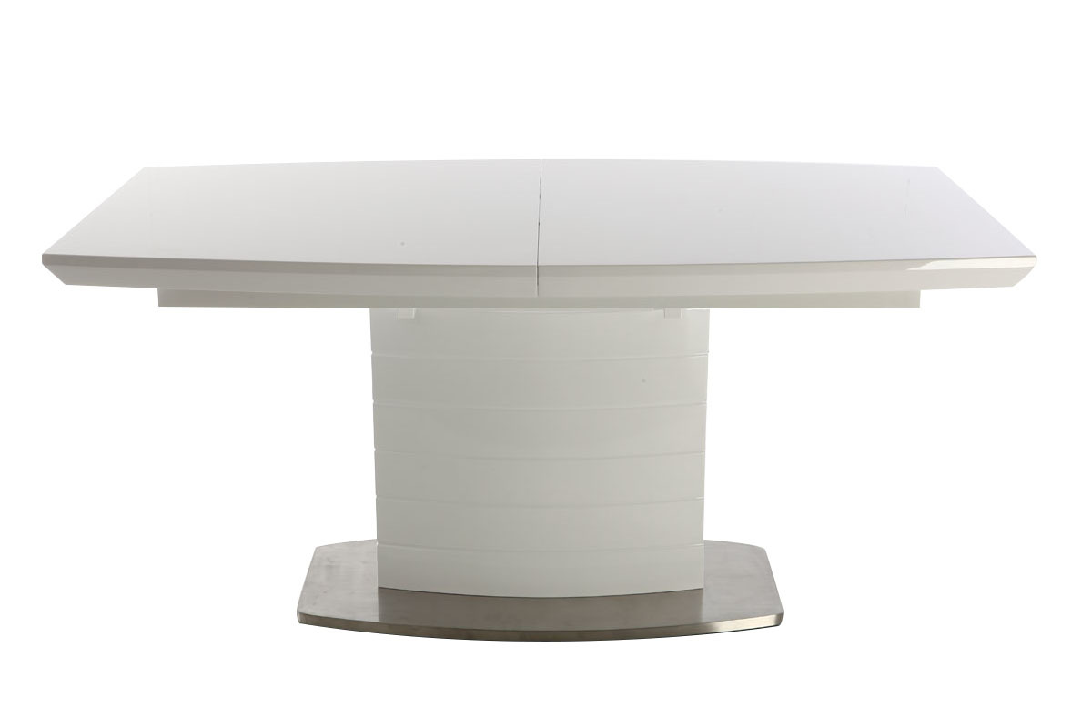 Table manger design extensible blanc brillant 160 200 for Table de salle a manger 12 places