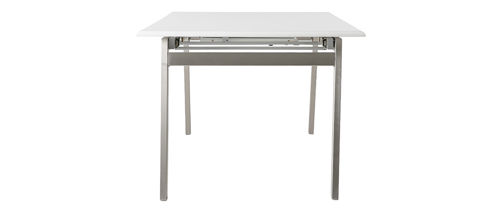 Table à manger design extensible blanche et métal L188-238 cm MARNY