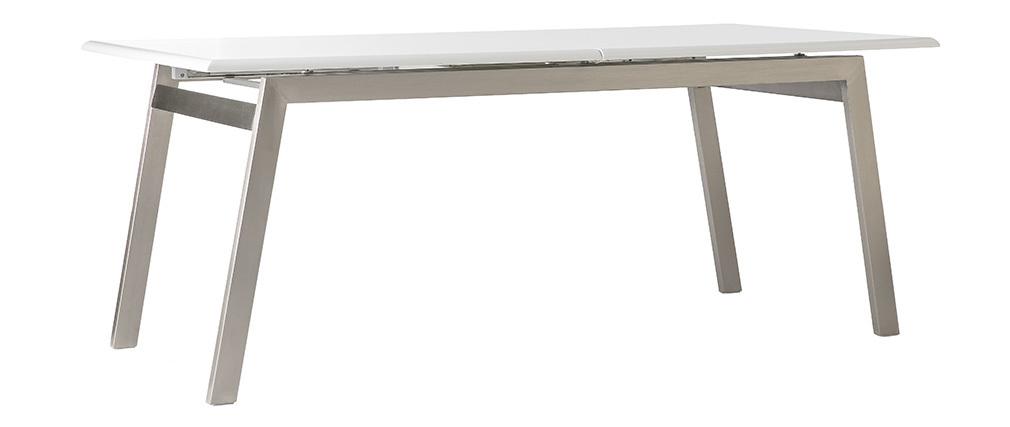 Table à manger design extensible blanche et métal L188-238 MARNY