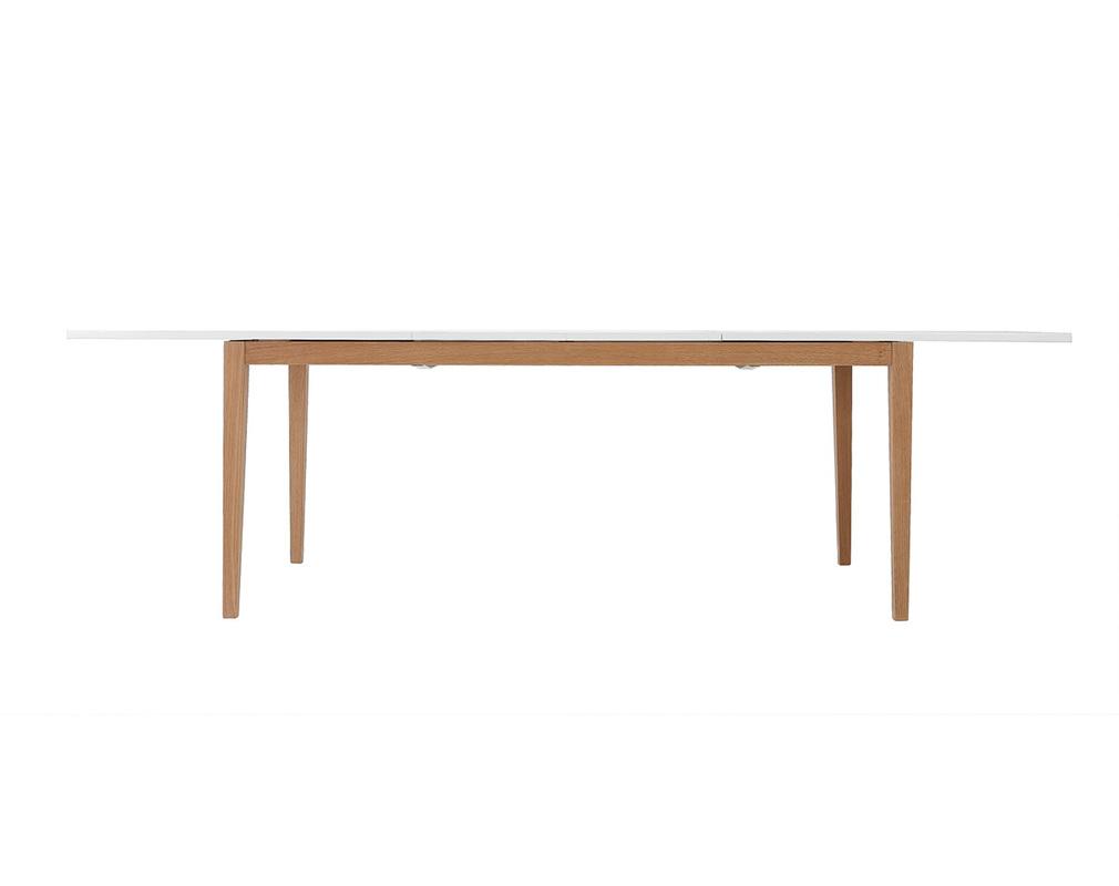 Table Blanche Pied Bois table à manger design extensible blanche pieds bois l180-260