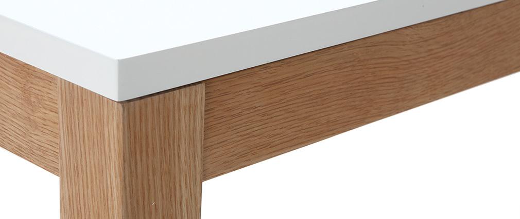Table à manger design extensible blanche pieds bois L180-260 DELAH ...