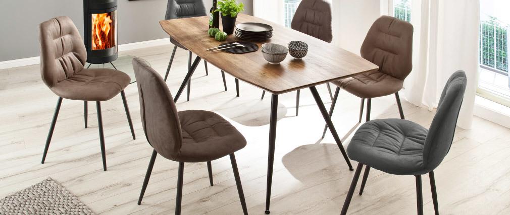 Table à manger design finition chêne sauvage et métal BOCCA