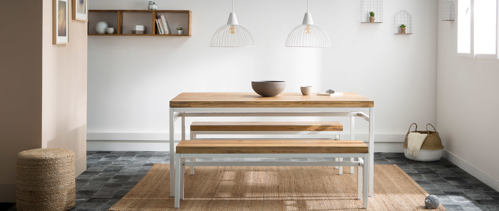 Table à manger design manguier et métal blanc 160cm BOHO