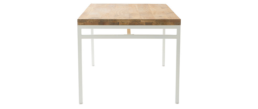 Table à manger design manguier et métal blanc L160 cm BOHO