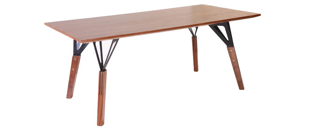 Table à manger design noyer 180x90cm WADDEN