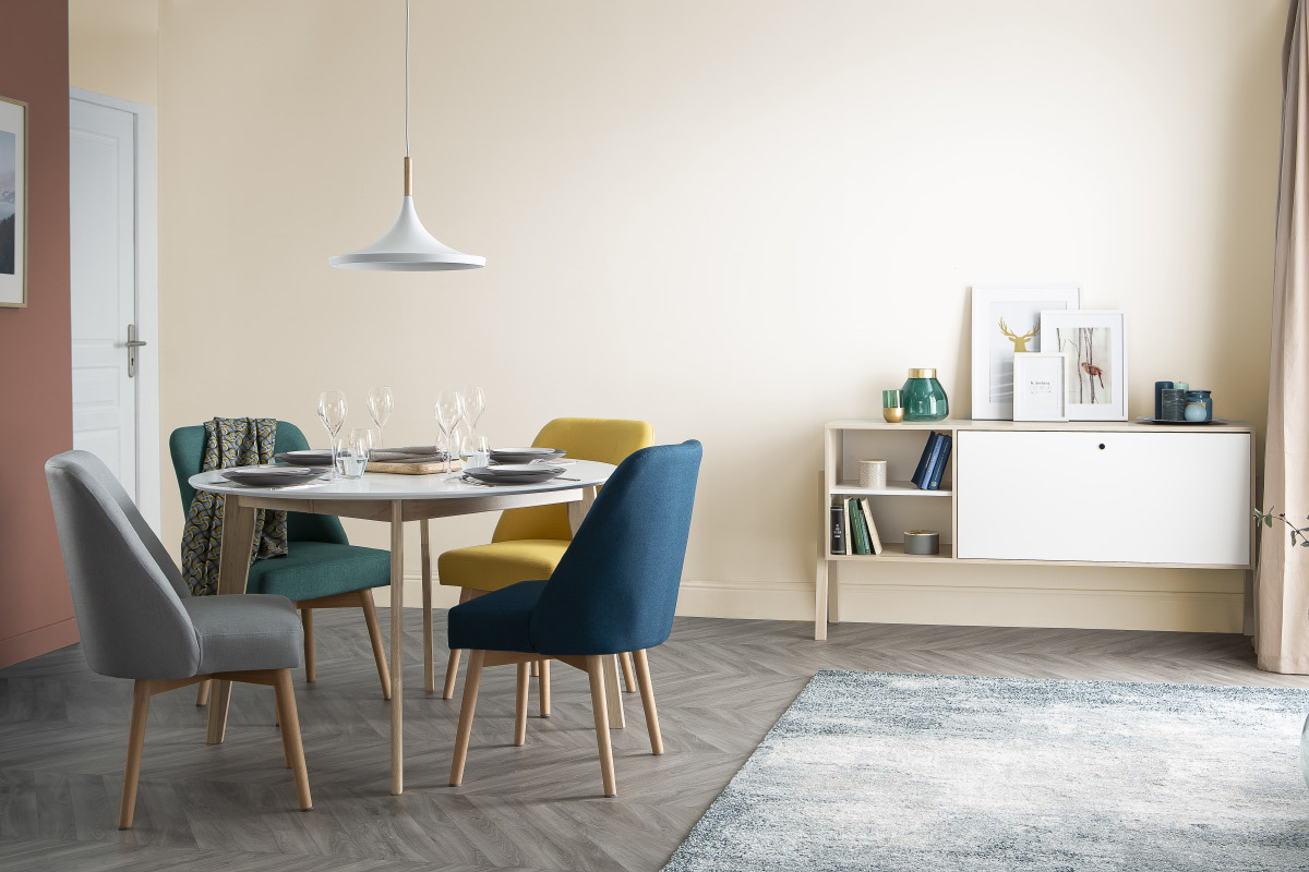 Table A Manger Design Ronde Extensible Blanc Et Bois L120 150 Cm