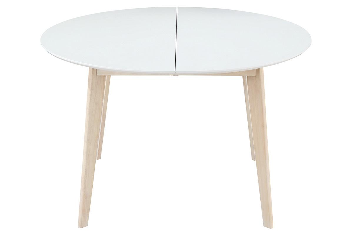 Table à manger design ronde extensible blanc et bois L120 ...