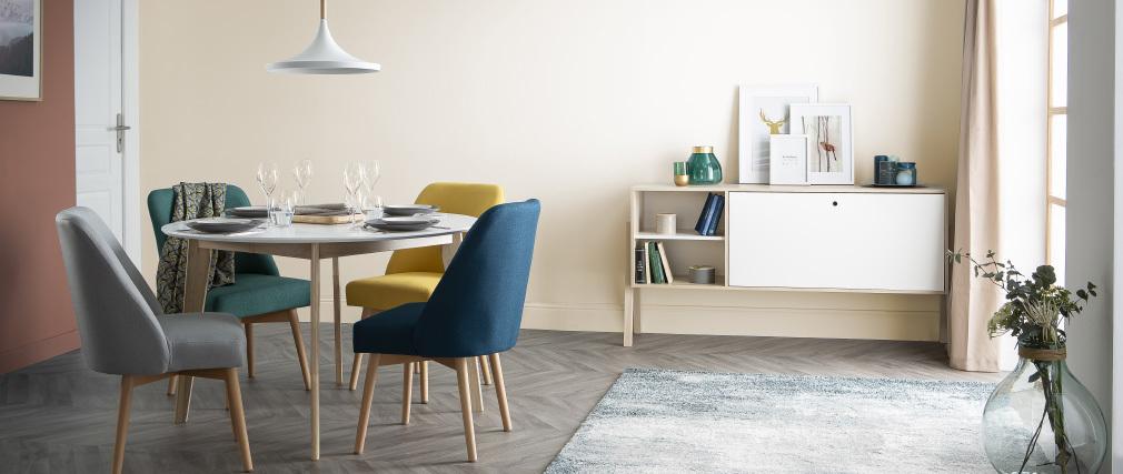 Table à manger design ronde extensible blanc et bois L120-150 LEENA
