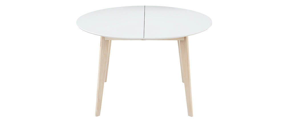 Table à manger design ronde extensible blanc et bois L120 ...