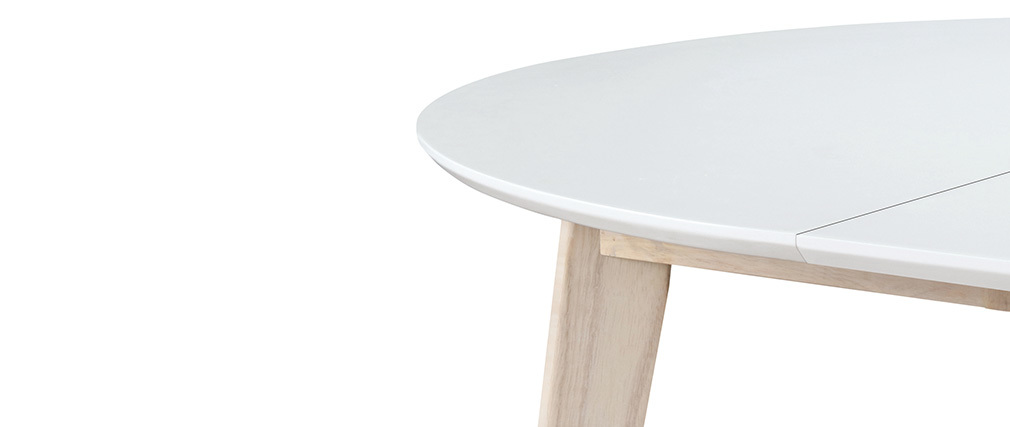 Table à manger design ronde extensible blanc et bois L120-150 LEENA ...