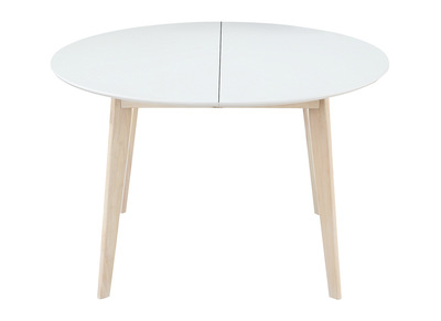 Table Ronde Extensible Scandinave.Table A Manger Design Ronde Extensible Blanc Et Bois L120 150 Leena
