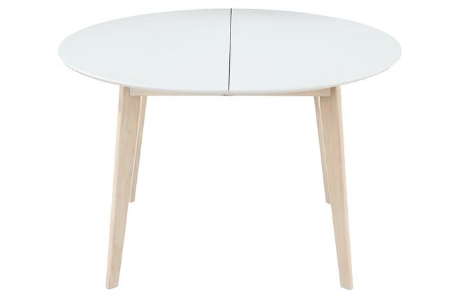 Table à manger design ronde extensible blanc et bois L120-150 LEENA ...
