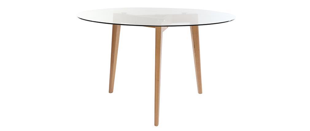 Table à manger design ronde plateau verre DAVOS - Miliboo