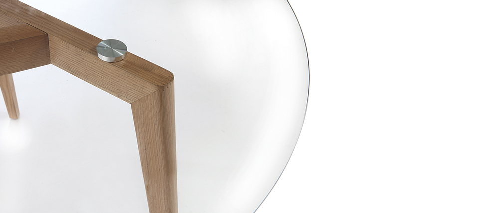 Table à manger design ronde plateau verre DAVOS