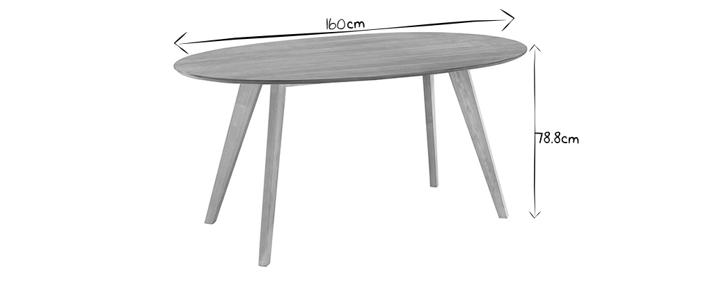 Table à manger design scandinave ovale chêne L160 MARIK
