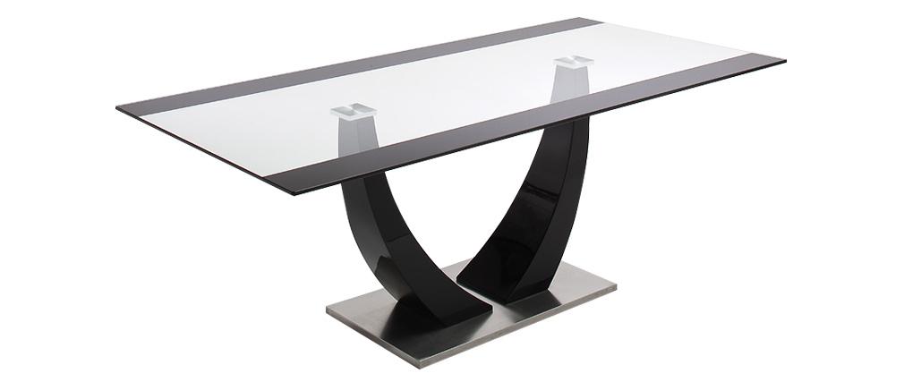 Table à manger design verre et laqué noir 200 cm PEARL - Miliboo