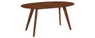 Table à manger design vintage ovale noyer L160 cm MARIK