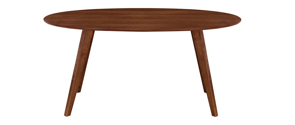 Table à manger design vintage ovale noyer MARIK