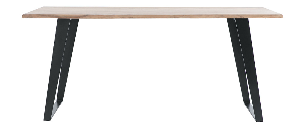 Table à manger en acacia massif et métal noir L175 cm KORA