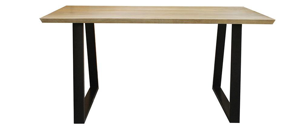 Table à manger en manguier massif et métal noir L160 cm VIJAY