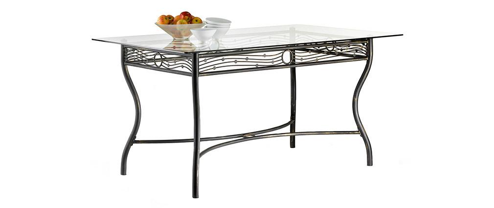 Table à manger en verre et acier rectangulaire D153 cm FLORENCE