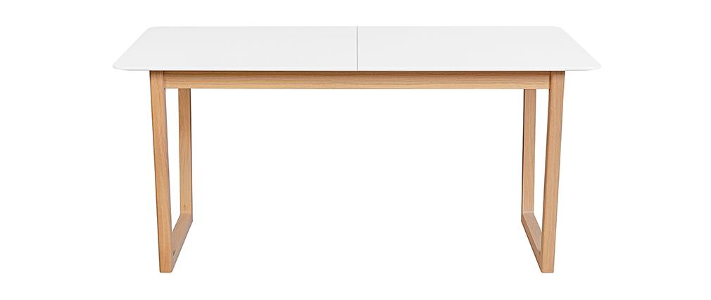 Table à manger extensible bois clair et blanc L160-240 cm LAHO
