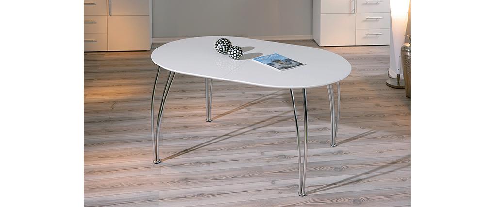 Table à manger extensible design laquée blanche L140-180 OXANE - Miliboo