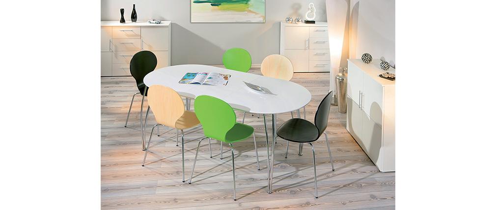 Table à manger extensible design laquée blanche L140-180 OXANE