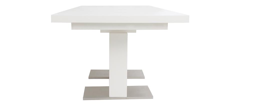 Table à manger extensible design laquée blanche L160-220 NEMIA
