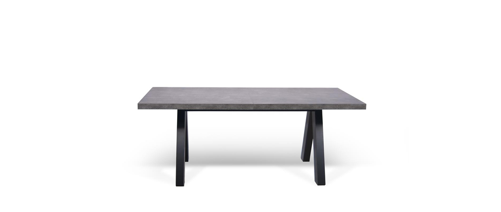 Table manger extensible design noir mat et b ton kallai for Table a manger beton