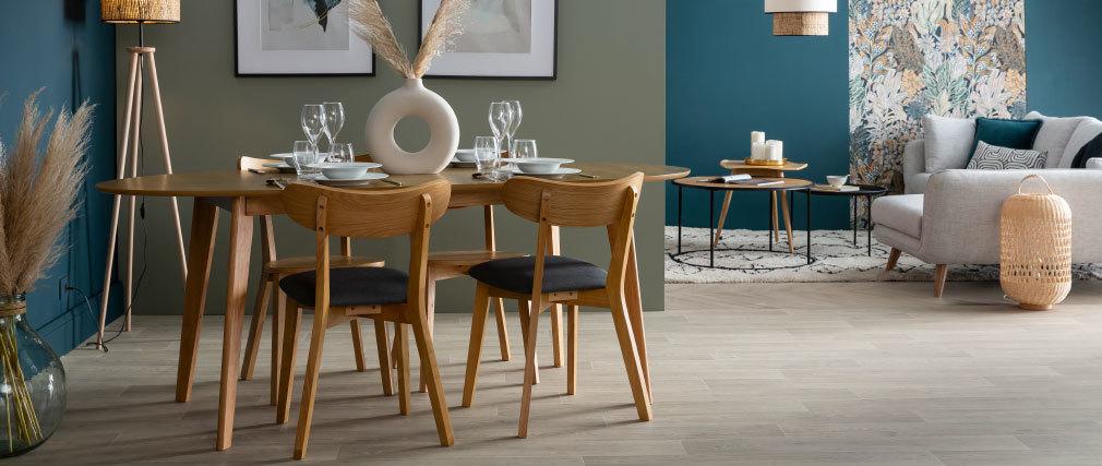 Table à manger extensible design noyer ovale L150-200 MARIK