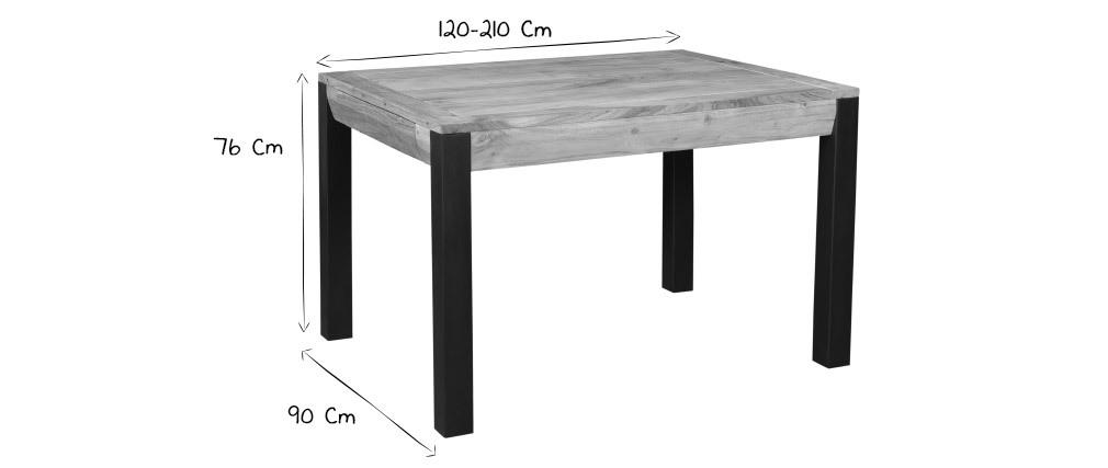 Table à manger extensible en acacia massif et métal noir L120-210 cm TRAP