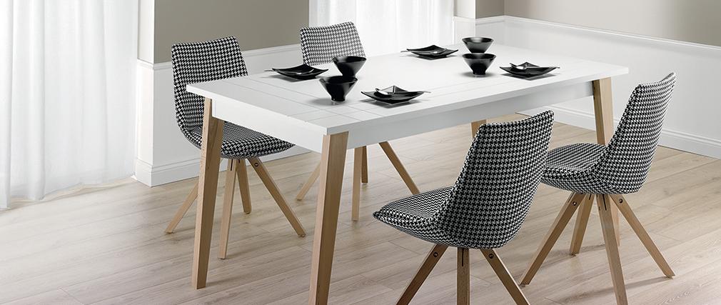 Table à manger extensible laquée blanc mat et bois ADORNA